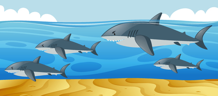 Ocean scene with sharks swimming in the sea illustration