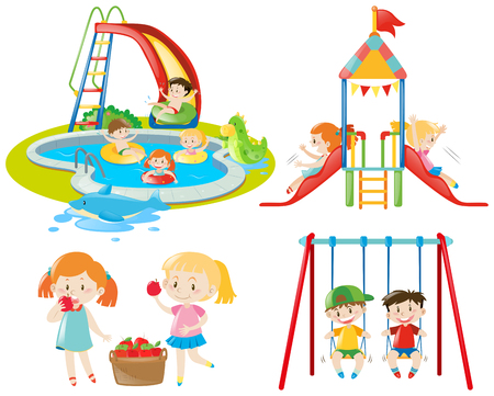 Many kids playing at the playground and in the pool illustration Illustration