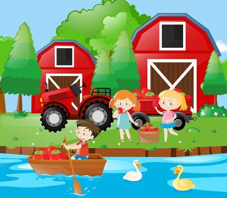 having fun: Three kids having fun in the farm illustration