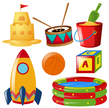 Different items of toys illustration