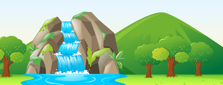 river rock: Scene with waterfall and forest illustration Illustration