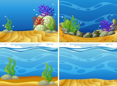 Four scenes plants under the sea illustration