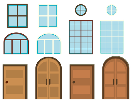 windows and doors: Different styles of windows and doors illustration