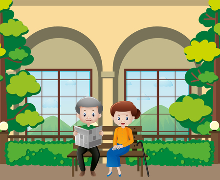 old people reading: Old people reading newspapers in the garden illustration