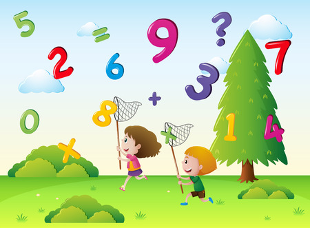 Two kids catching numbers in the sky illustration Illustration