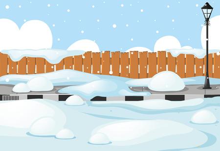 通りの図の雪のシーン  イラスト・ベクター素材