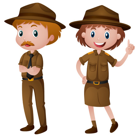 Two park rangers in brown uniform illustration