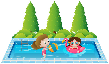 Two girls swimming in the pool illustration