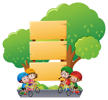 Wooden sign template with kids on bike illustration Фото со стока - 68177731
