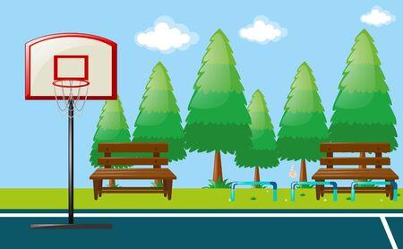 Scène de parc avec illustration de terrain de basket