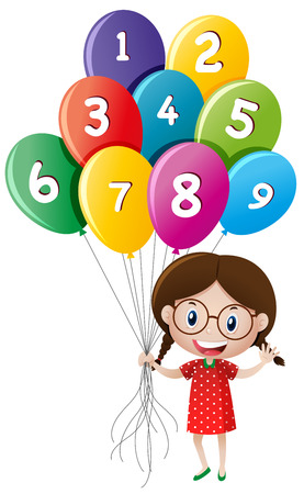 Cute girl holding balloons with numbers illustration