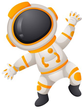 spaceman: Spaceman in spacesuit flying illustration Illustration