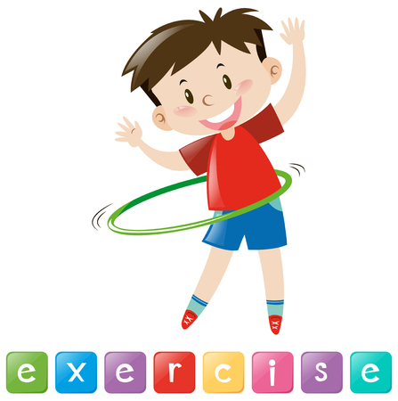 hulahoop: Wordcard for exercise with boy playing hulahoop illustration Illustration
