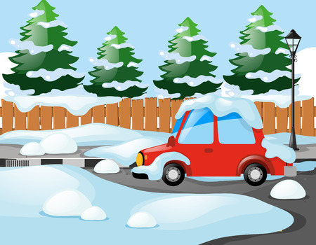 Neighborhood scene with red car covered with snow illustration Illustration