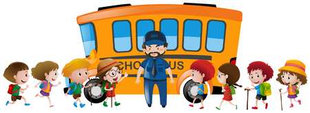 schoolbus: Children and bus driver standing by the schoolbus illustration