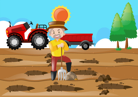 Farm scene with farmer making holes in the ground illustration