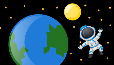 spaceman: Spaceman floating around the earth illustration Illustration