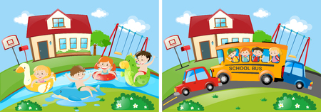 schoolbus: Two scenes with children swimming and riding on schoolbus illustration