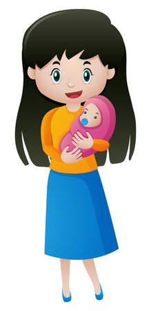 mother holding baby: Mother holding little baby illustration