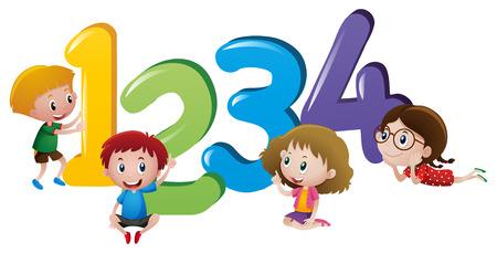 Petits enfants comptant l'illustration numéro un à quatre