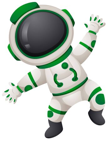 Astronaunt in green and white spacesuit illustration