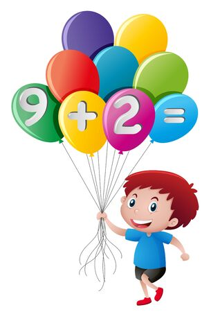 Little boy holding balloon with math equation illustration Illustration