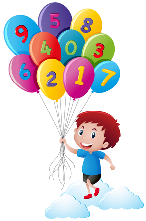 Little boy holding balloons with numbers illustration Illustration