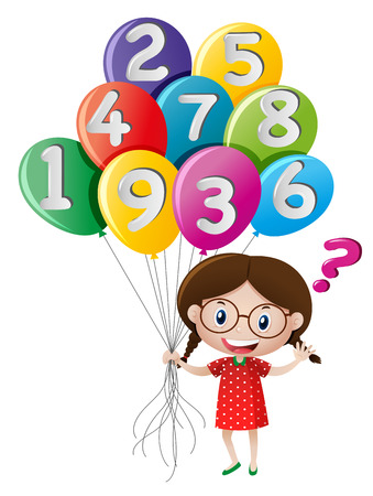 countable: Little girl holding balloons with numbers illustration