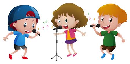 Tre bambini che cantano sull'illustrazione del microfono Vettoriali