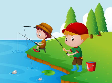 Two boys fishing by the river illustration Vectores