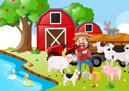 Farm scene with farmer and animals by the river illustration