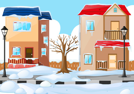 covered in snow: Two houses covered by the snow illustration Illustration