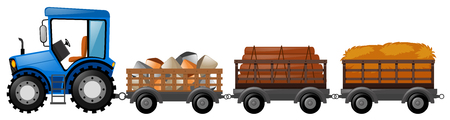wagons: Tractor with three wagons loaded with stone and woods illustration Illustration