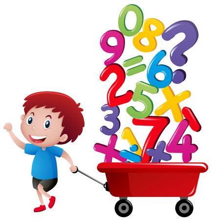 Boy pulling wagon with number blocks illustration