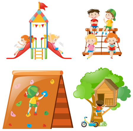 Many kids playing at different play stations illustration