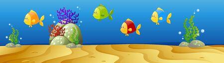 underwater scene: Underwater scene with many fish illustration