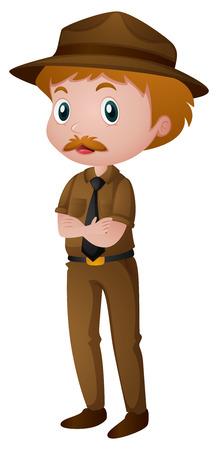 ranger: Man in park ranger costume illustration