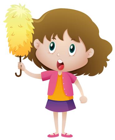 Little girl holding duster illustration Illustration