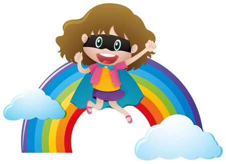 outfit: Girl in hero outfit with rainbow background illustration