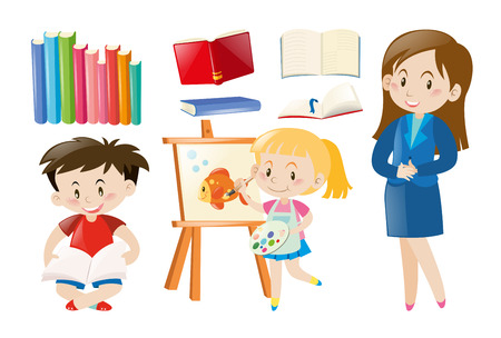 niño parado: Teacher and students with school objects illustration