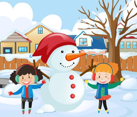 公園の図に雪だるまを作る二人の少女