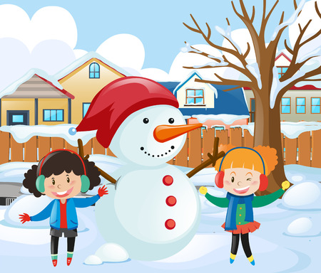 Two girls making snowman in the park illustration