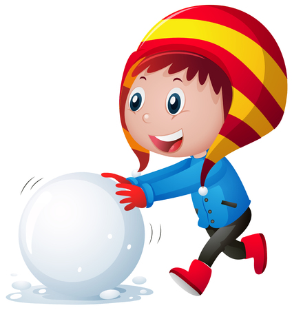 Little boy rolling snowball illustration Vectores