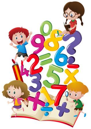 Dzieci i liczby na ilustracji książki
