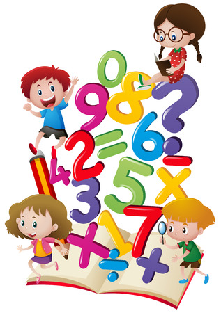 numbers clipart: Kids and numbers in the book illustration