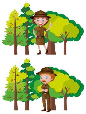 Park rangers and forest background illustration