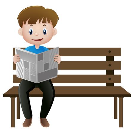 man: Man reading newspaper on the bench illustration