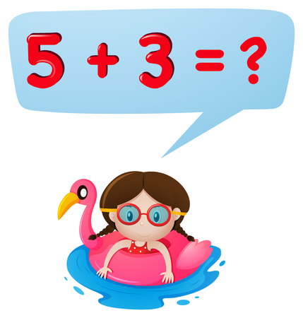 Little girl and math question illustration Illustration
