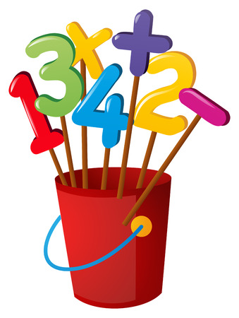 numbers clipart: Numbers on wooden stick in red bucket illustration