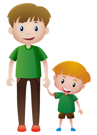 dad son: Father and son holding hands illustration